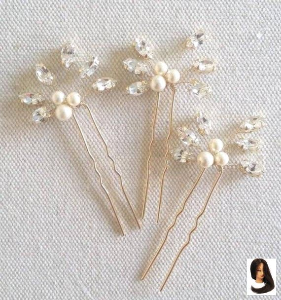 Gold Strass Haarnadel Perlen Haarnadeln Braut Blume Clips Boho Gold böhmischen Hochzeit Haars #brautblume
