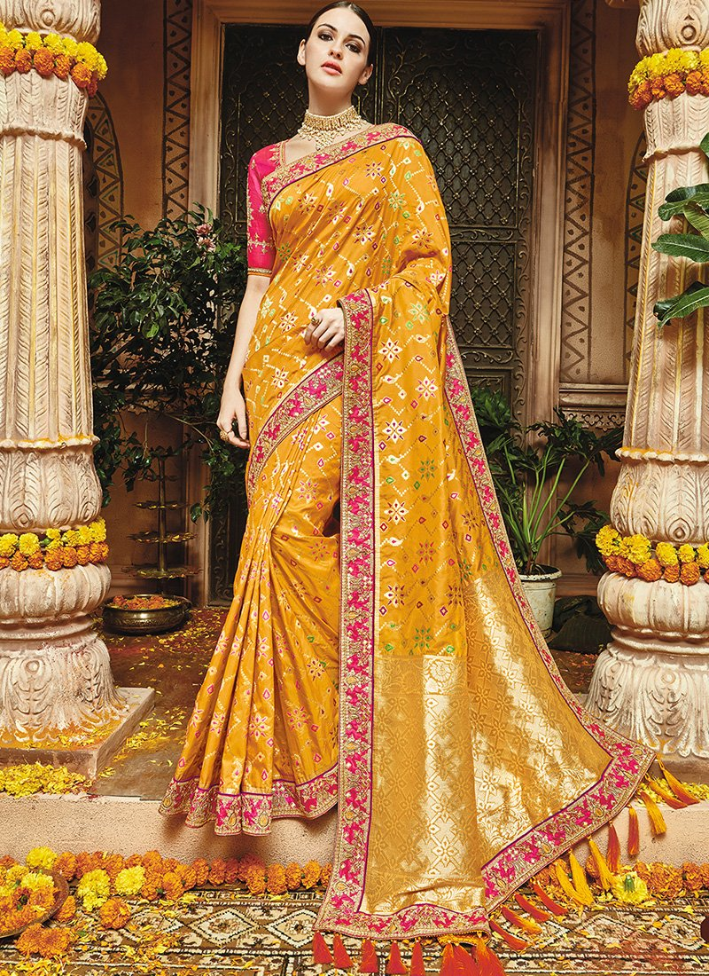 6beaabb94aadbd Golden Yellow and Hot Pink Floral Embroidered Silk Saree | bride ...