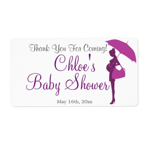 Thank You For Coming! Baby Shower Water Bottle Personalized - shipping label