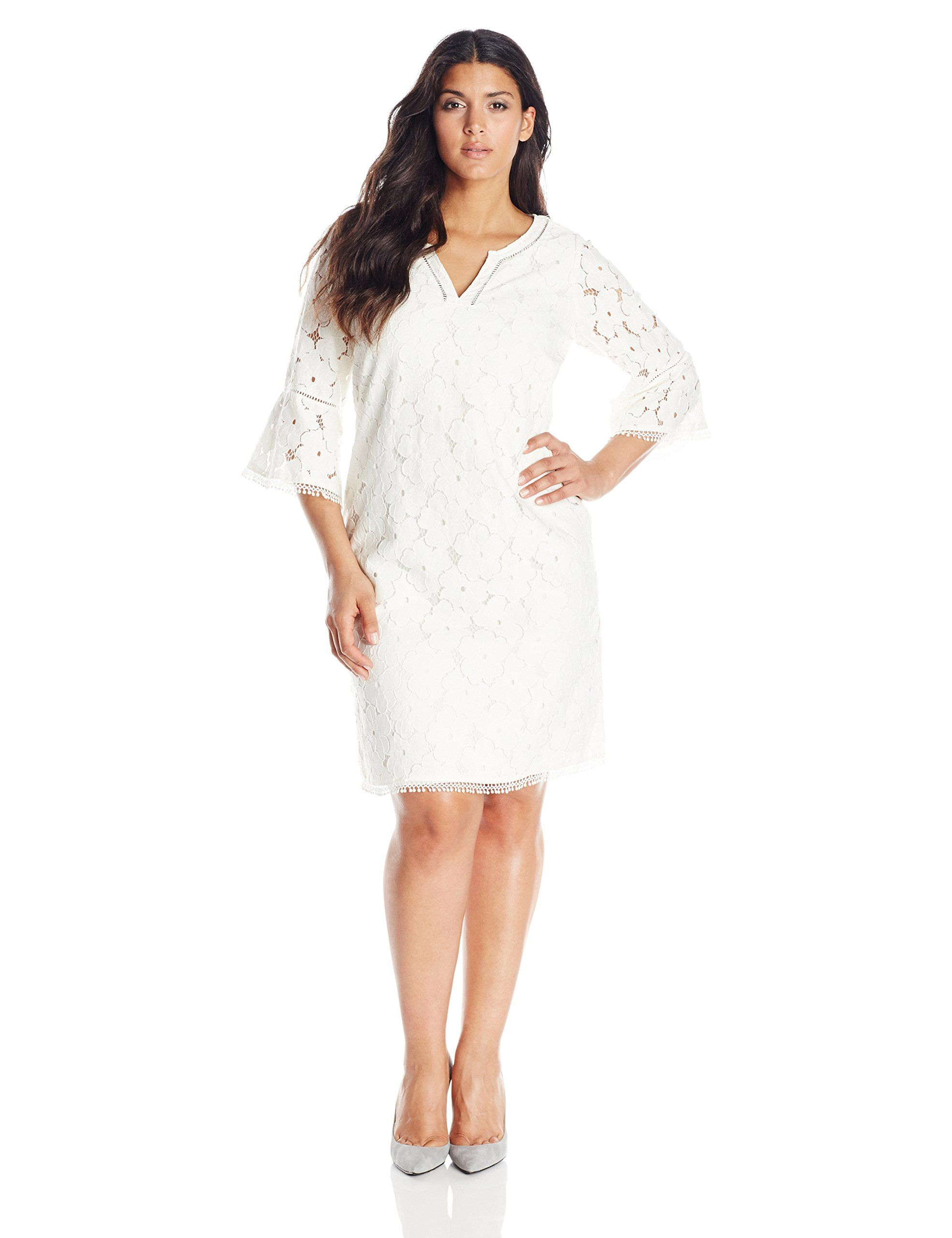 b22eebba3e Adrianna Papell Women s Plus-Size 3 4 Sleeve V Neck Lace Shift Dress ...