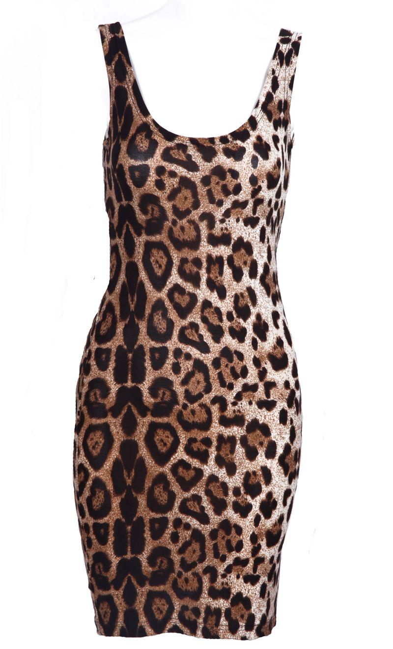 31a295f042 Leopard Scoop Neck Sleeveless Backless Dress - Sheinside.com ...