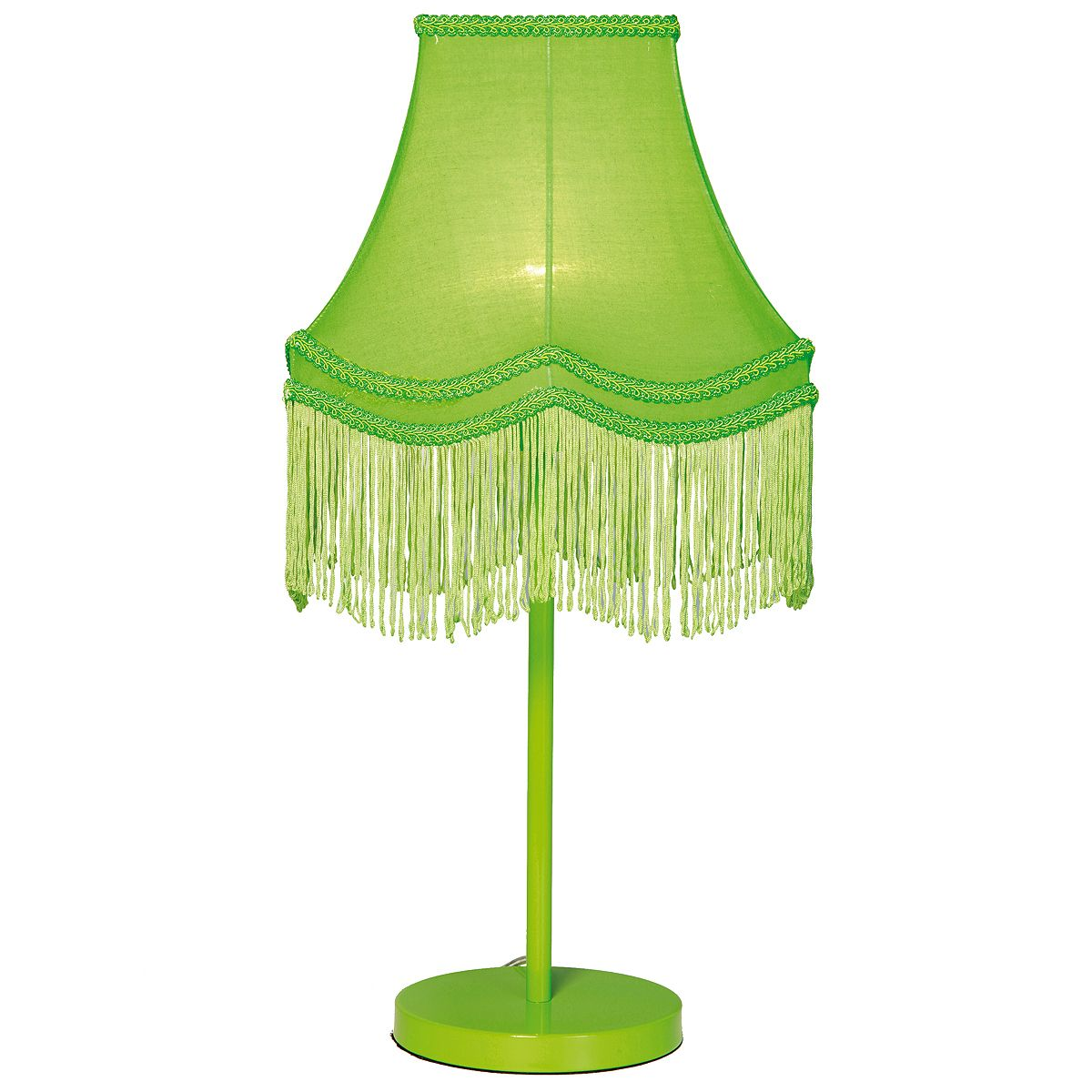 Captivating Fluoro Fringe Lime Green Table Lamp