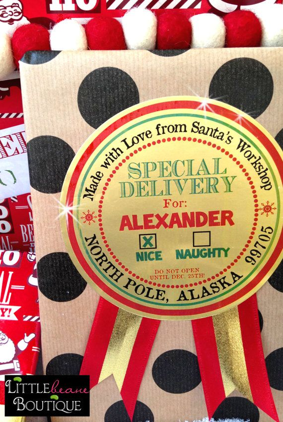 Santa Claus Nice List Stickers,Special delivery, Gift labels,GOLD