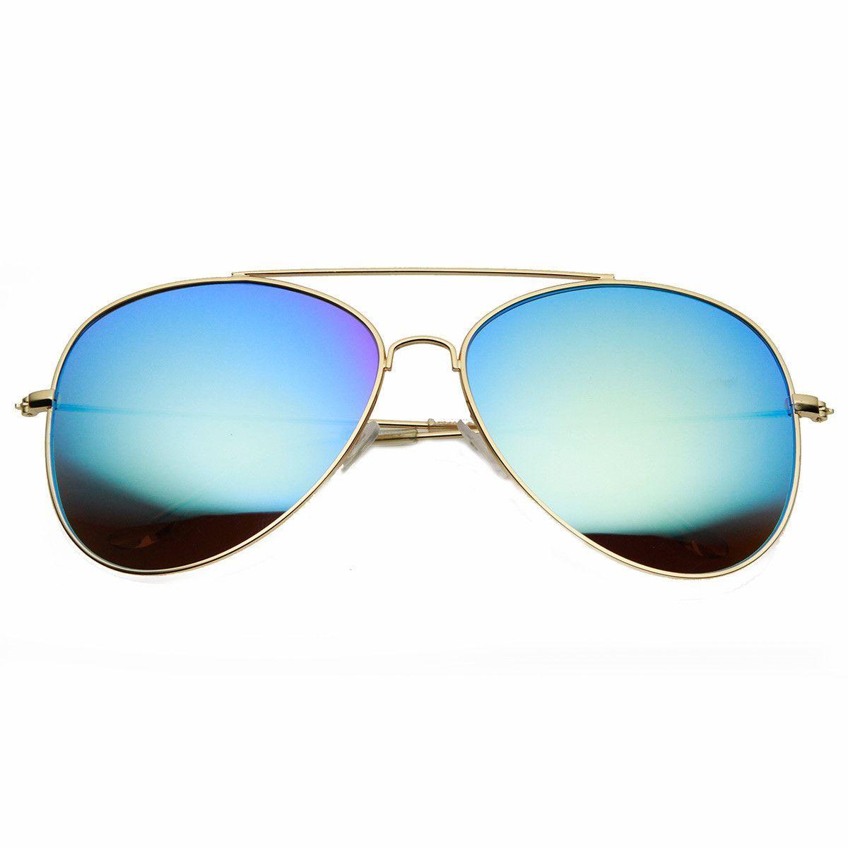 large lens aviator sunglasses  Large Oversized Metal Tear Drop Flash Mirror Lens Aviator ...