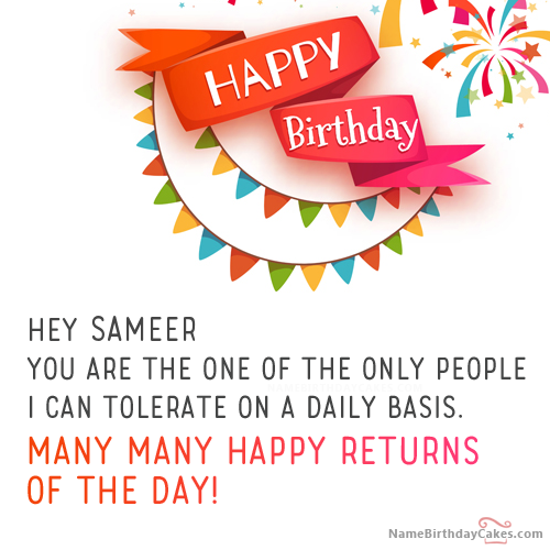 The name [sameer] is generated on Best Funny Birthday Wishes