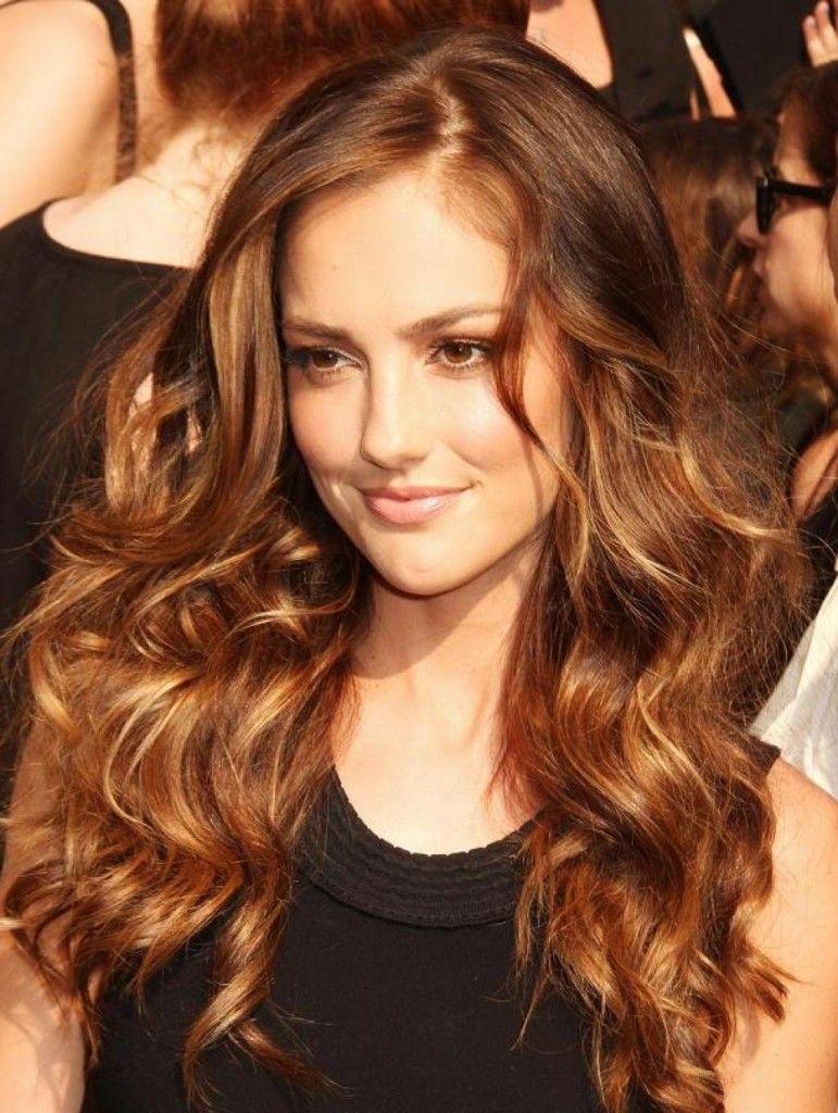 Copper red highlights on dark brown hair hairstyles pinterest