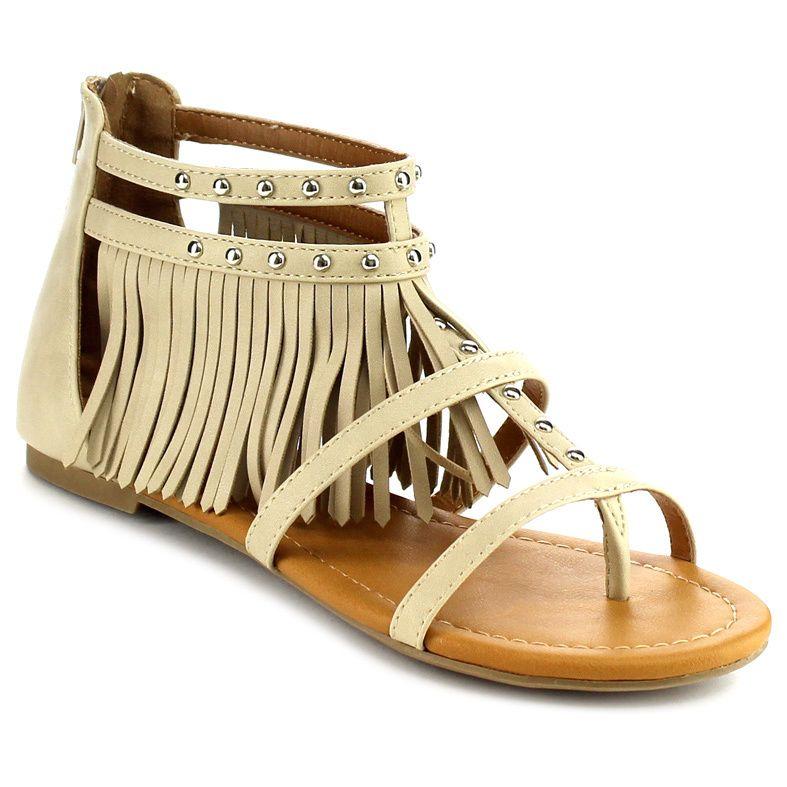 Beston Ia05 Fringe Flat Sandals