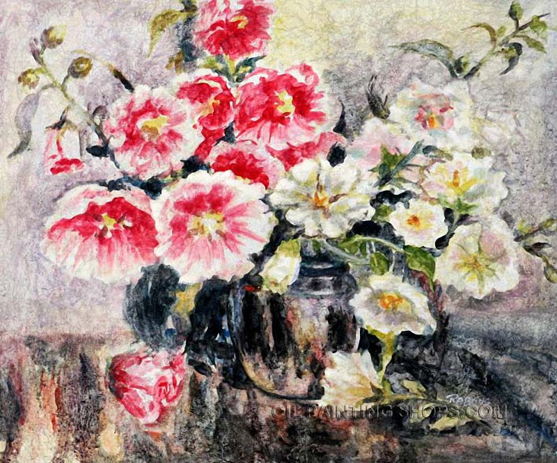Wall art decorating ideas reproduction oil still life flower painting ideas bouquet size 24