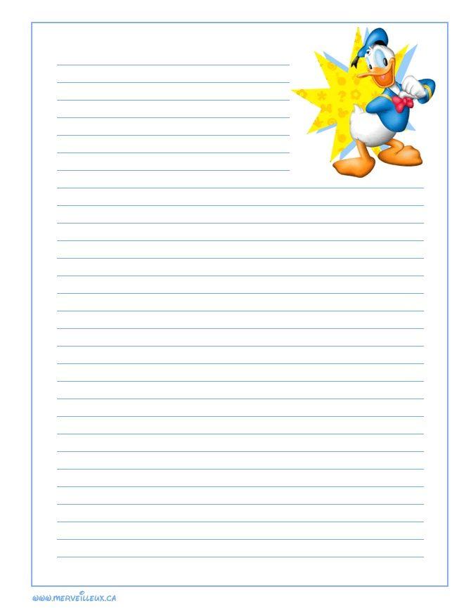 Papier A Lettre A Imprimer Lined Writing Paper Disney