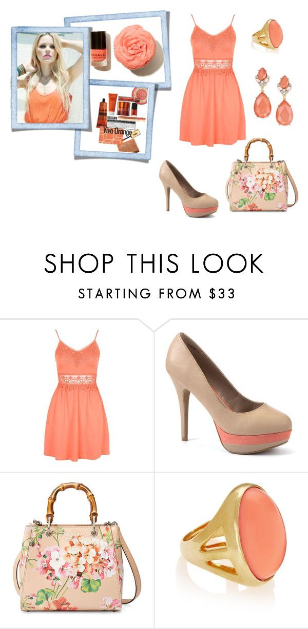 """""""Lovely Coral :)"""" by grateful-angel ❤ liked on Polyvore featuring Topshop, Gucci, Kenneth Jay Lane and INC International Concepts"""