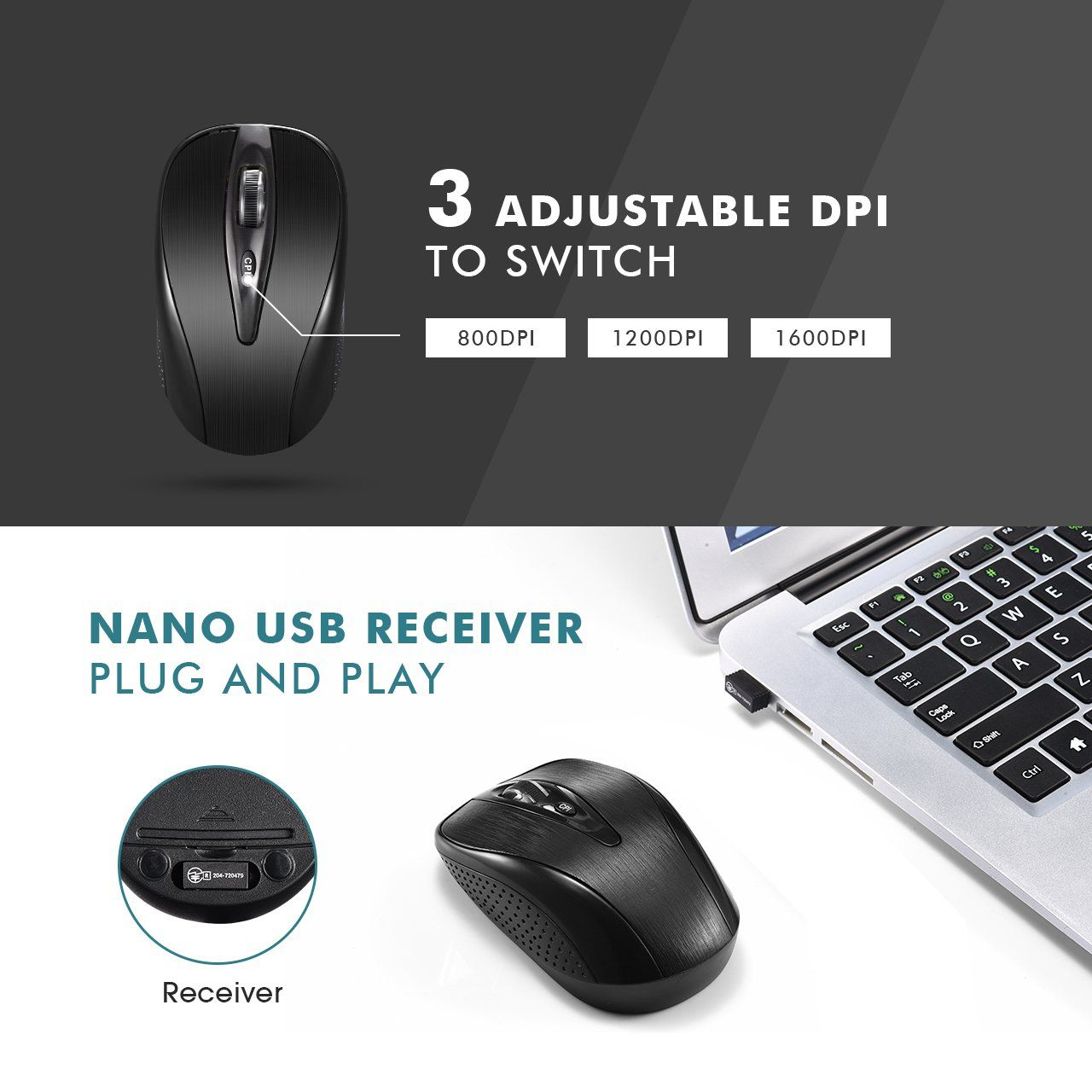 2.4GHz 26ft Wireless Keyboard and Mouse Combo Ultra Thin