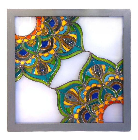 Zen Stained Glass Panel 12x12 Etsy In 2020 Stained Glass Mosaic Mirror Stained Glass Panel Stained Glass Mosaic
