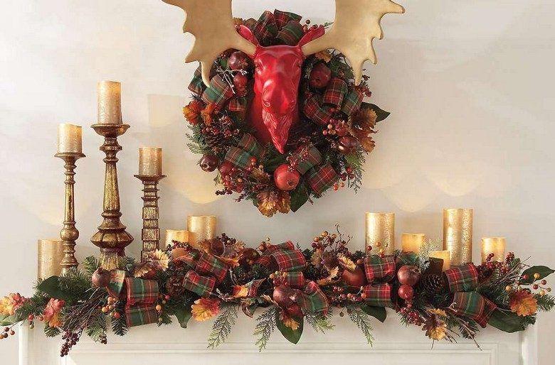 Weihnachtsdeko Wohnzimmer ~ Weihnachtsdeko für den kaminsims girlande aus stoff und