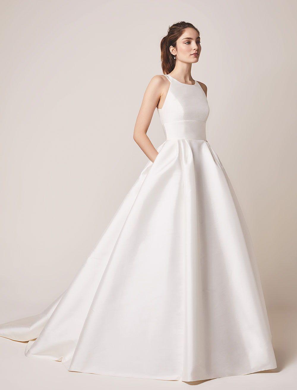 Ball Gown V Neck Satin Sweep Train Pockets Wedding Dresses Wedding Dresses Pronovias Wedding Dress Ruffle Wedding Dress