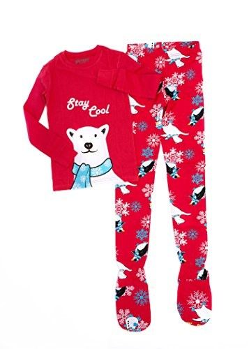 6c6f72fe0 Big Feet PJs 2 Piece Footed Pajamas Stay Cool Polar Bear on Red (9 ...