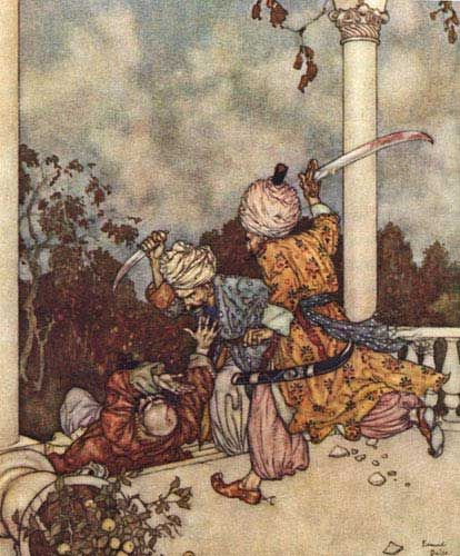 They overtook him just as he reached the steps of the main porch; Bluebeard, Sir Arthur. The Sleeping Beauty and Other Tales From the Old French. Edmund Dulac, illustrator. New York: Hodder & Stoughton, 1910.