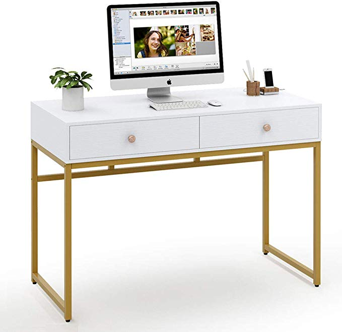 Amazon Com Tribesigns Computer Desk Modern Simple 47 Inch Home Office Desk Study Table Writing Desk With 2 Storage Study Table Home Office Desks Office Desk
