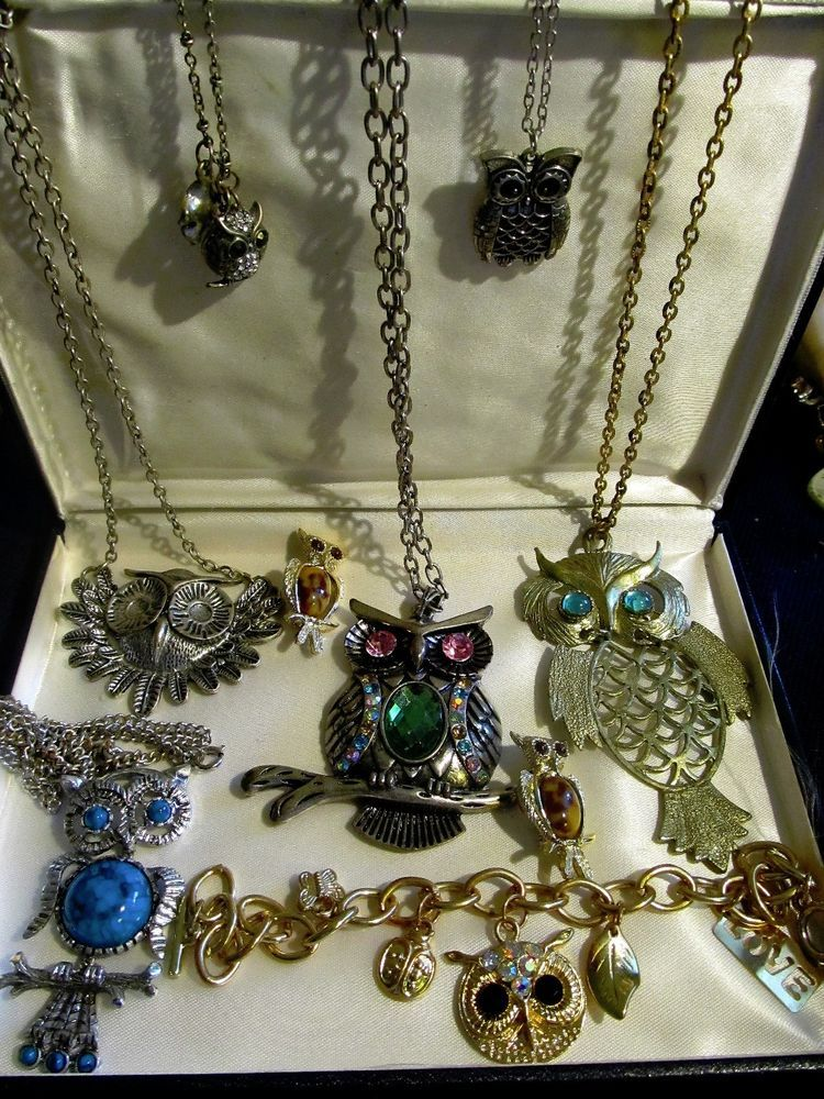 Vtg 60S MID CENTURY RARE OWL SWIVEL NECKLACE BRACELET PINS & RARE SWIVEL TURTLE #GoldtoneandSilvertone