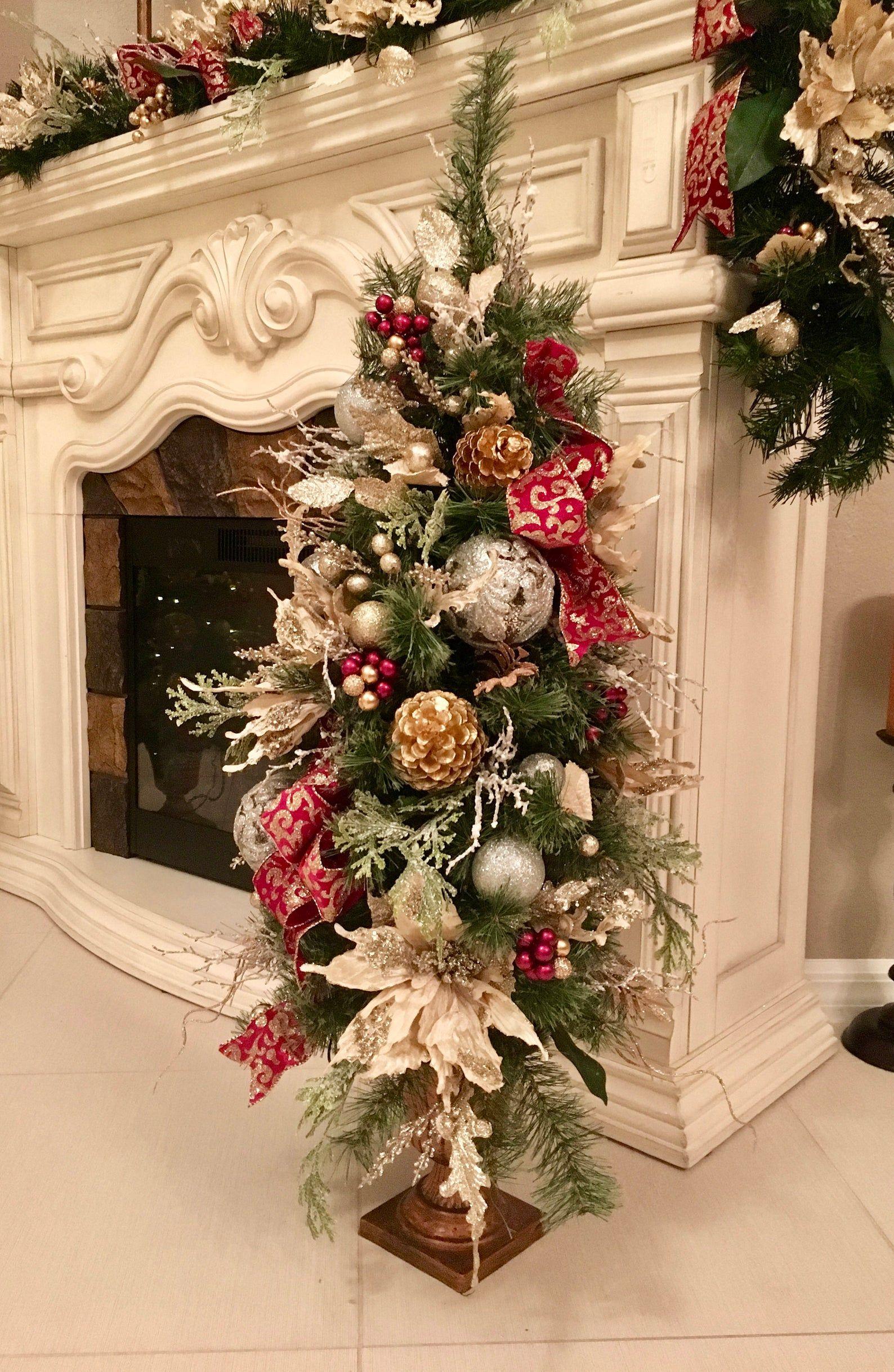 "Velvet White Poinsettia 42"" tall Christmas Topiary. FREE SHIPPING 150 LED Pre-Light, Only one ..."