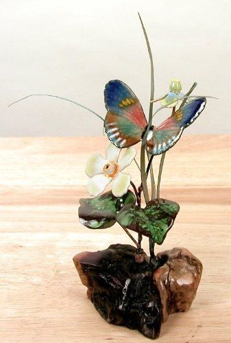 RED SPOTTED PURPLE BUTTERFLY TABLETOP SCULPTURE WOOD /& METAL SCULPTURES