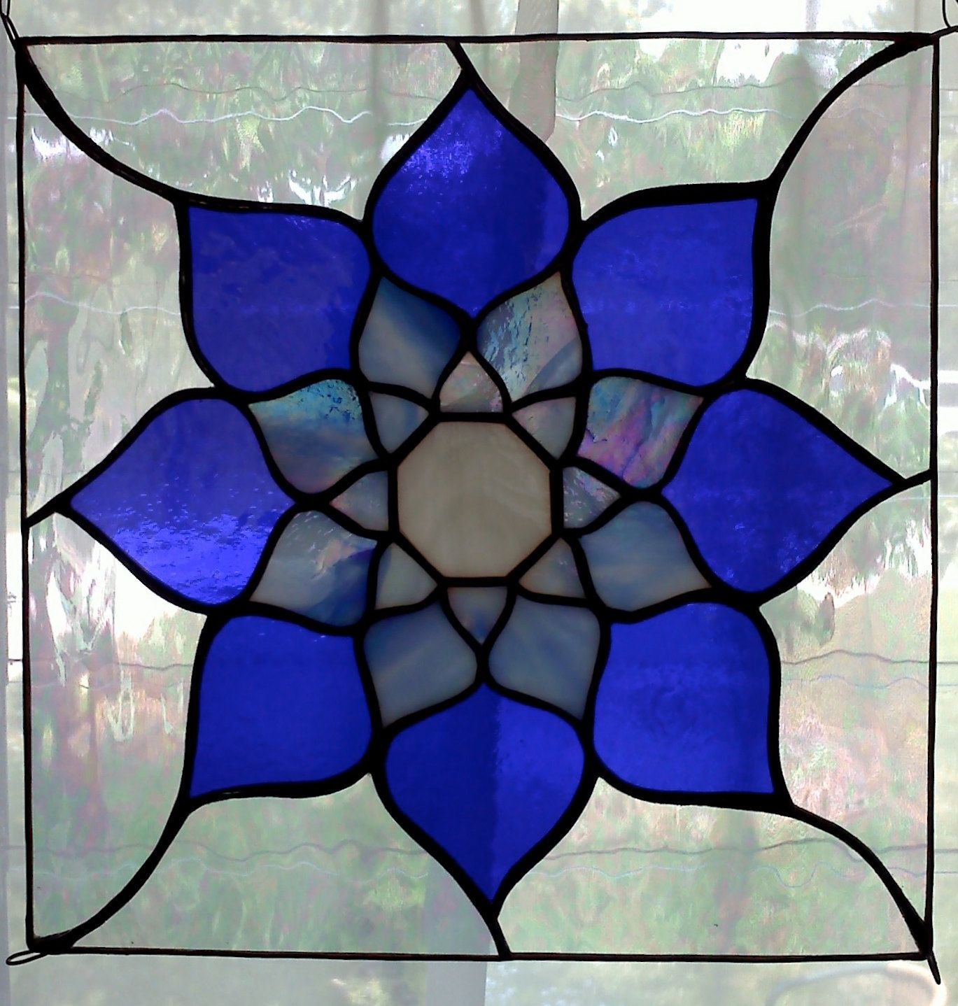 Blue Lotus Stained Glass Panel | Stained Glass Pieces | Pinterest ...