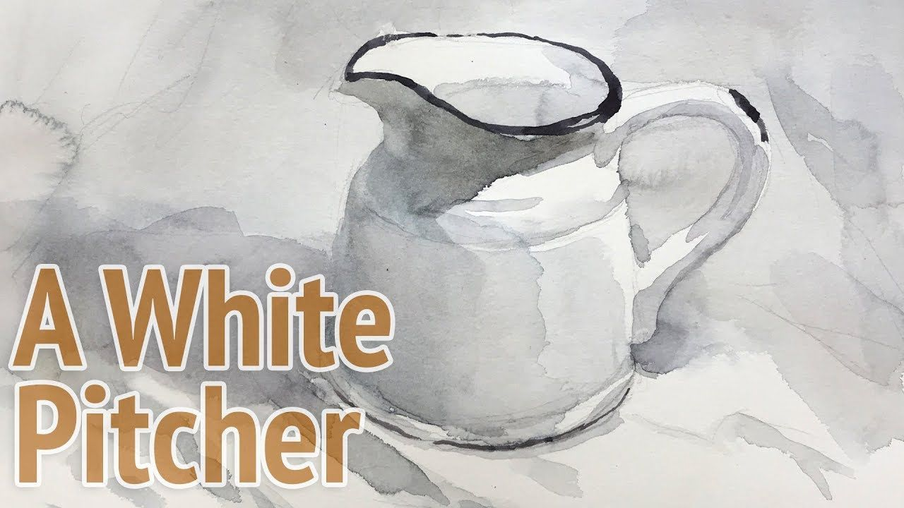 Watercolor Painting A White Pitcher Painting With Monochrome