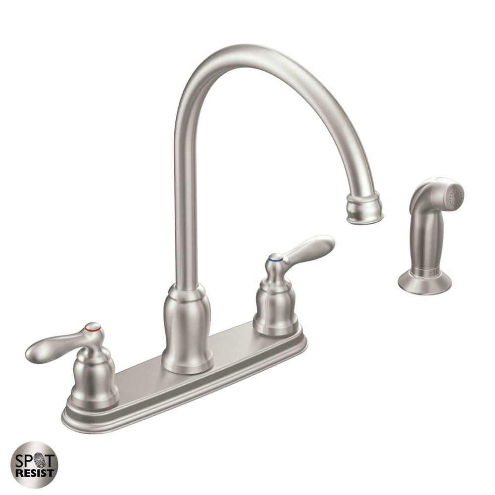 Moen Ca87060 Caldwell High Arc Kitchen Faucet With Side Spray