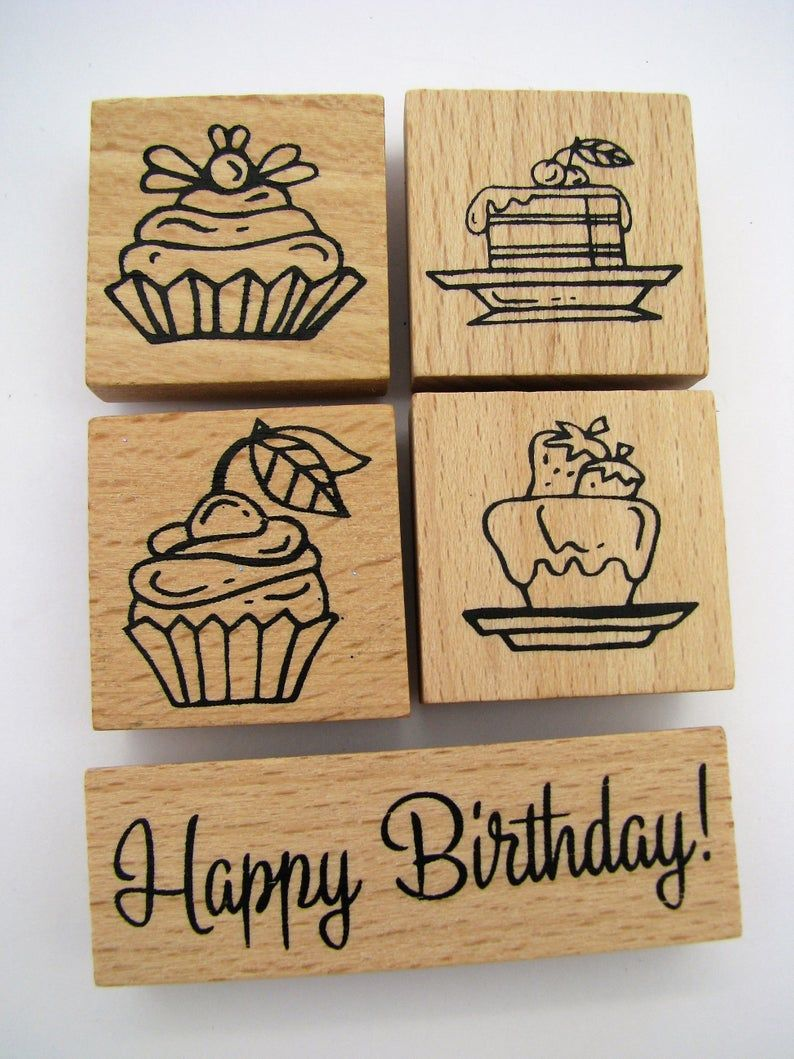 Set of 5 wooden rubber stamps – bullet journal – bujo – cardmaking – scrapbooking – kids – wood stamp – cupcake – happy birthday – cake