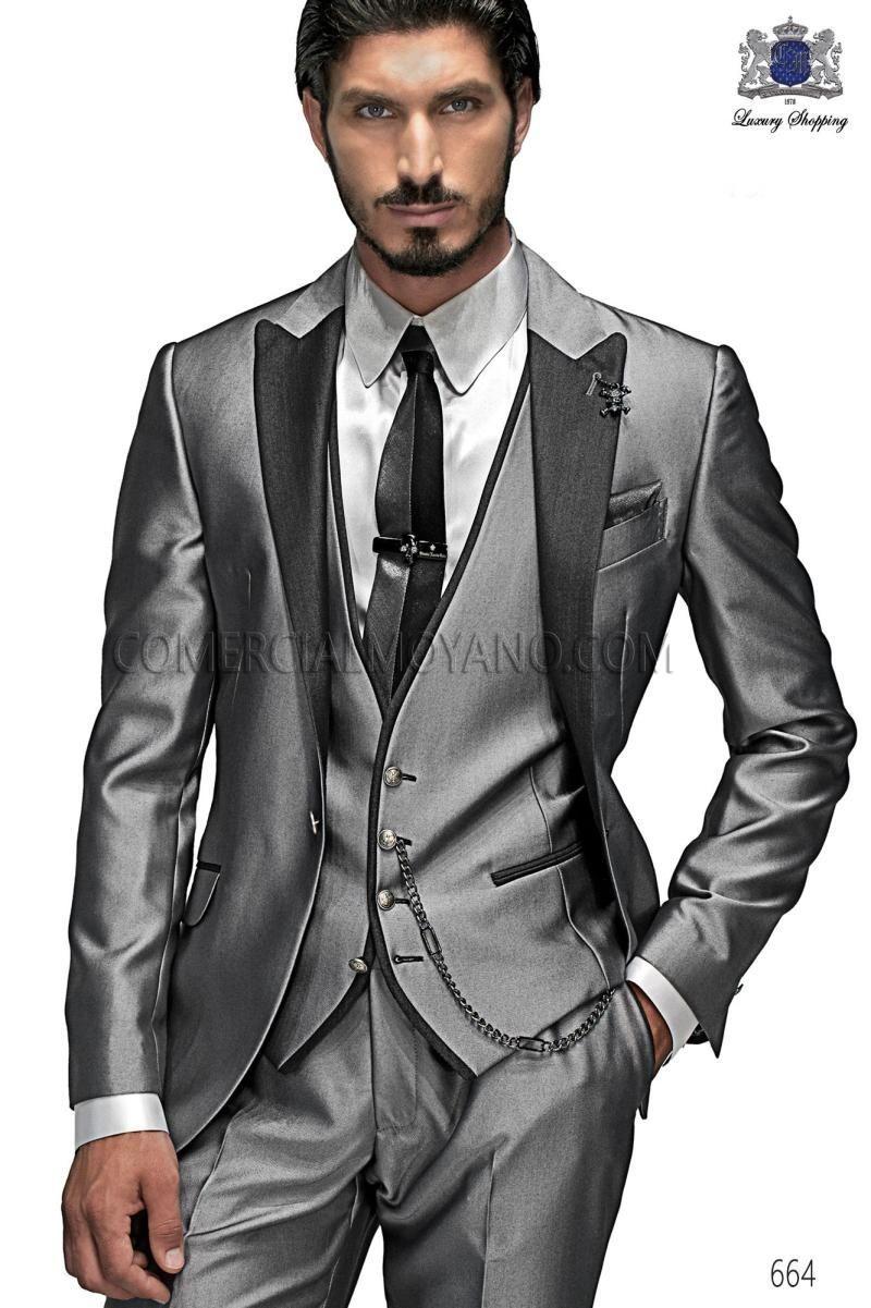 Custom Made One Button Silver Gray Groom Tuxedos Groomsmen Mens ...