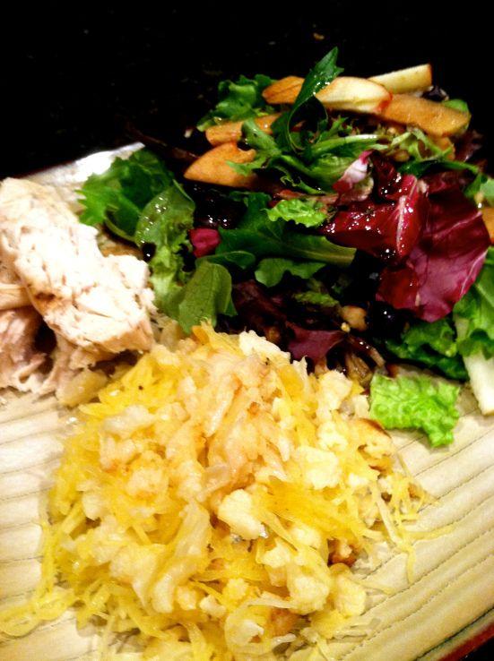#salad, spaghetti squash + roasted Chicken.  #cleaneats #glutenfree #grainfree