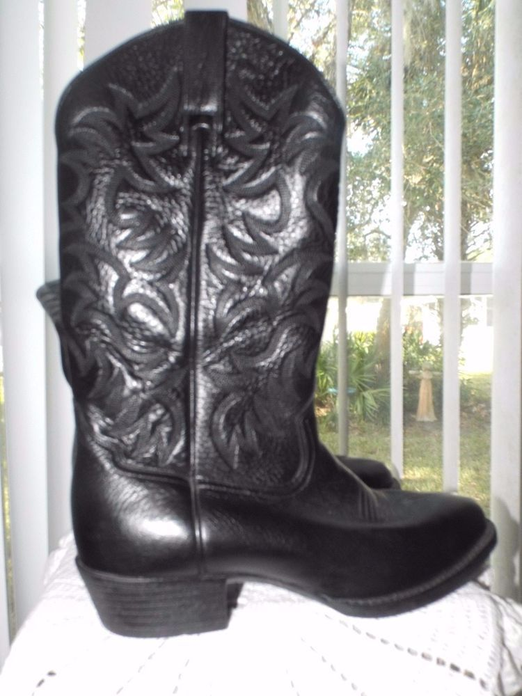 6c871240866 Men's Black Leather Boots Ariat Size 10 Heritage Cowboy Dress Boots ...