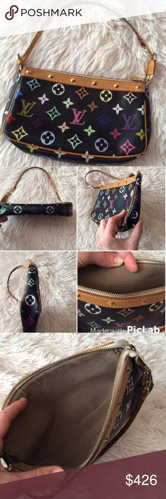 Final PriceLouis Vuitton Multicolor Pouchette Authentic guaranteed  excellent used condition Louis Vuitton monogram multicolor pochette not the  mini one. 071508fd86459