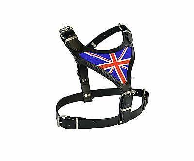 Luxury Hand Beaded Union Jack Large Leather Dog Harness In Black