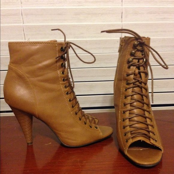 Open toe high heel boots Brown open toe high heel boots. Size 7 1/2. Worn once. Great condition. Lace up. Shoes Lace Up Boots