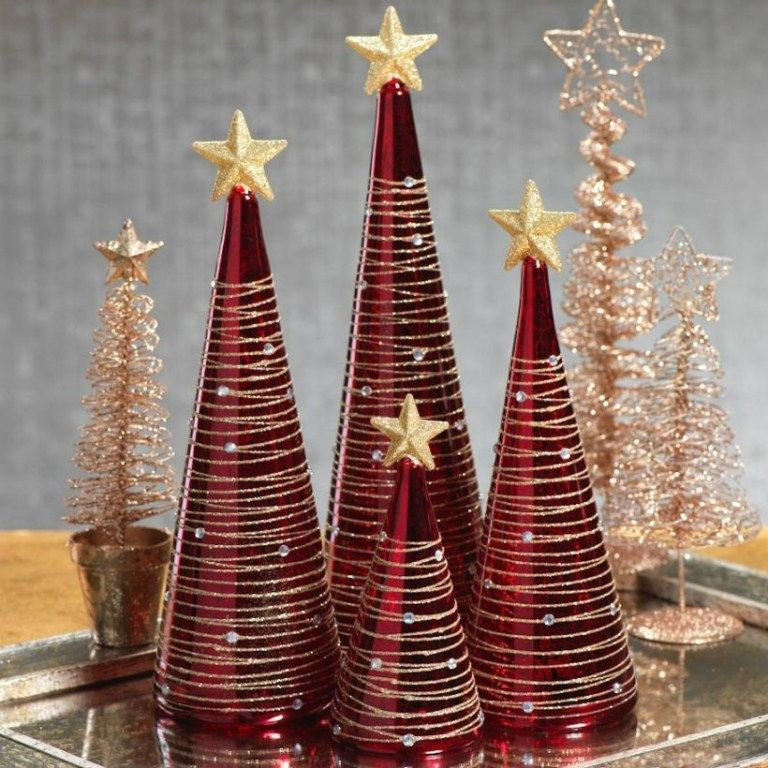 46 Diy Christmas Cone Trees Matchness Com Red And Gold Christmas Tree Christmas Cones Diy Christmas Tree