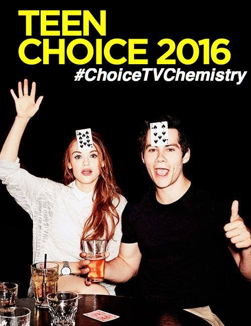 PLEASE VOTE in Twitter USING THIS My #TeenChoice nominee for #ChoiceTVChemistry is Holland Roden and Dylan O'Brien. #stydia @TeenChoiceFOX
