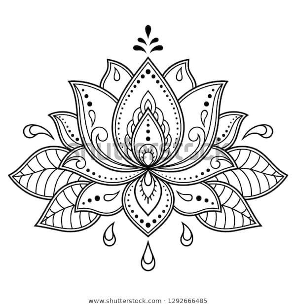 Mehndi Lotus Blumenmuster für Henna Zeichnung Stock-Vektorgrafik (Lizenzfrei) 1292666485