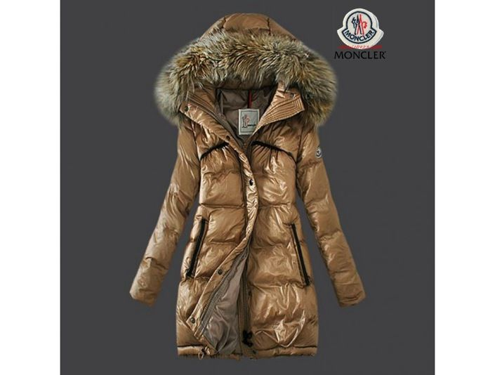 sale moncler damen chic khaki lange daunen mantel pelz kragen 81cm sale online shop moncler. Black Bedroom Furniture Sets. Home Design Ideas