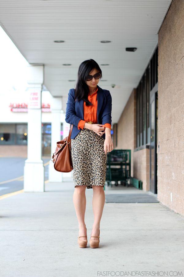 Navy orange and leopard