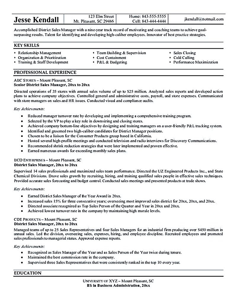 Nurse Manager Resume The Sales Manager Resume Should Have A Great Explanation And