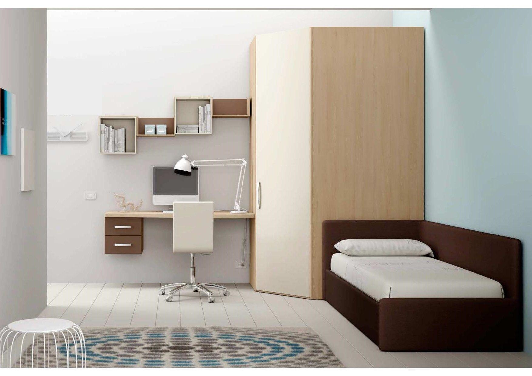 Cameretta completa di cabina armadio ad angolo divano letto imbottito mensole sagomate con - Divano letto cameretta ...