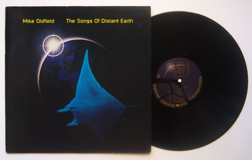 Mike Oldfield / LP The Songs Of Distant Earth DE: 4509-98581-1 Art label, earth Mispressed, broken label