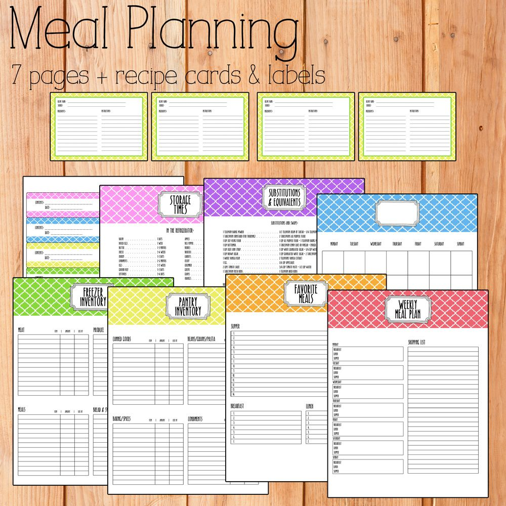 The Bright  Colorful Meal Planning Set Includes  Planner Pages