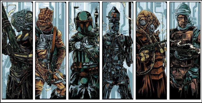 Art Prints of the Bounty Hunters from Star Wars Boba Fett Dengar, IG-88 Bossk