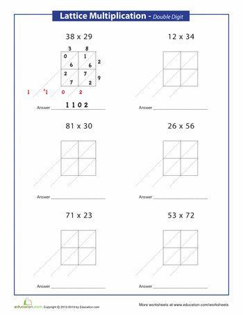 lattice method multiplication double digits math multiplication worksheets multiplication. Black Bedroom Furniture Sets. Home Design Ideas