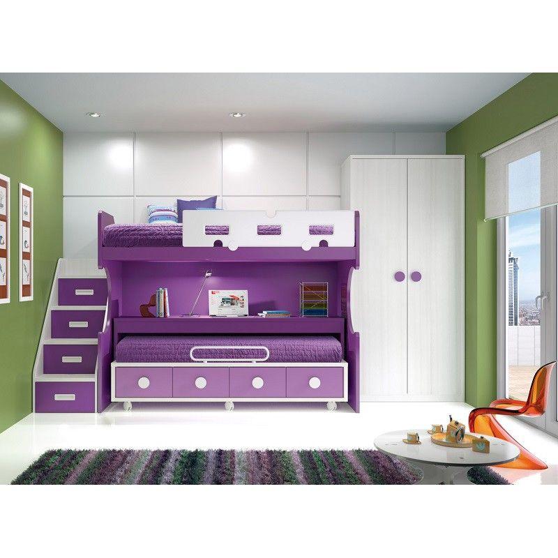 Dormitorio juvenil con cama alta y mesa estudio deslizante for Camas altas juveniles