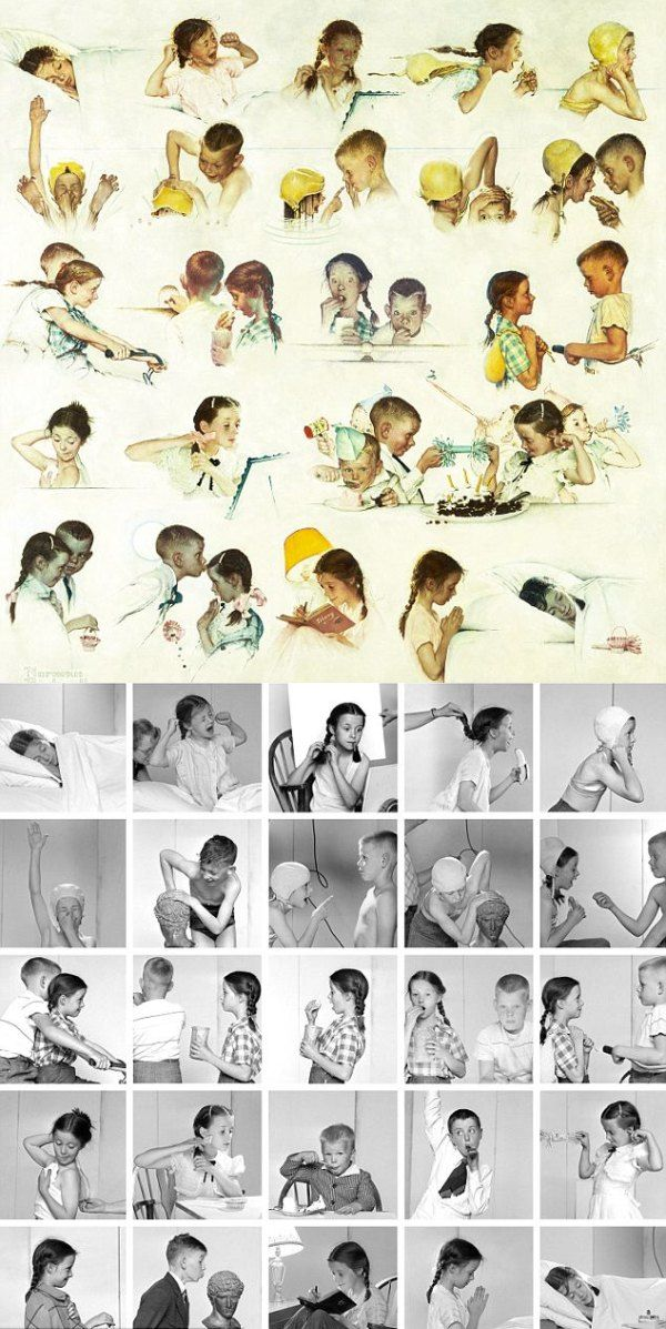 Norman Rockwell used  photos to paint his famous pictures