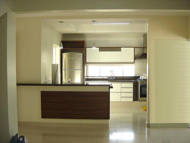 Sala Jantar e Cozinha integrados Gesso Iluminação Pisos Porcelanato ...