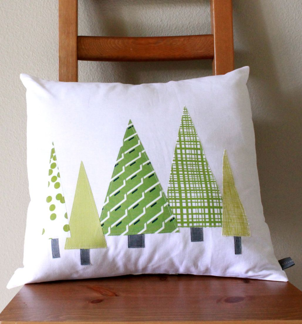Modern Christmas Pillow Cover Holiday Tree Forest In Green Christmas Tree Pillow Diy Pillow Covers Christmas Pillow Covers Holidays