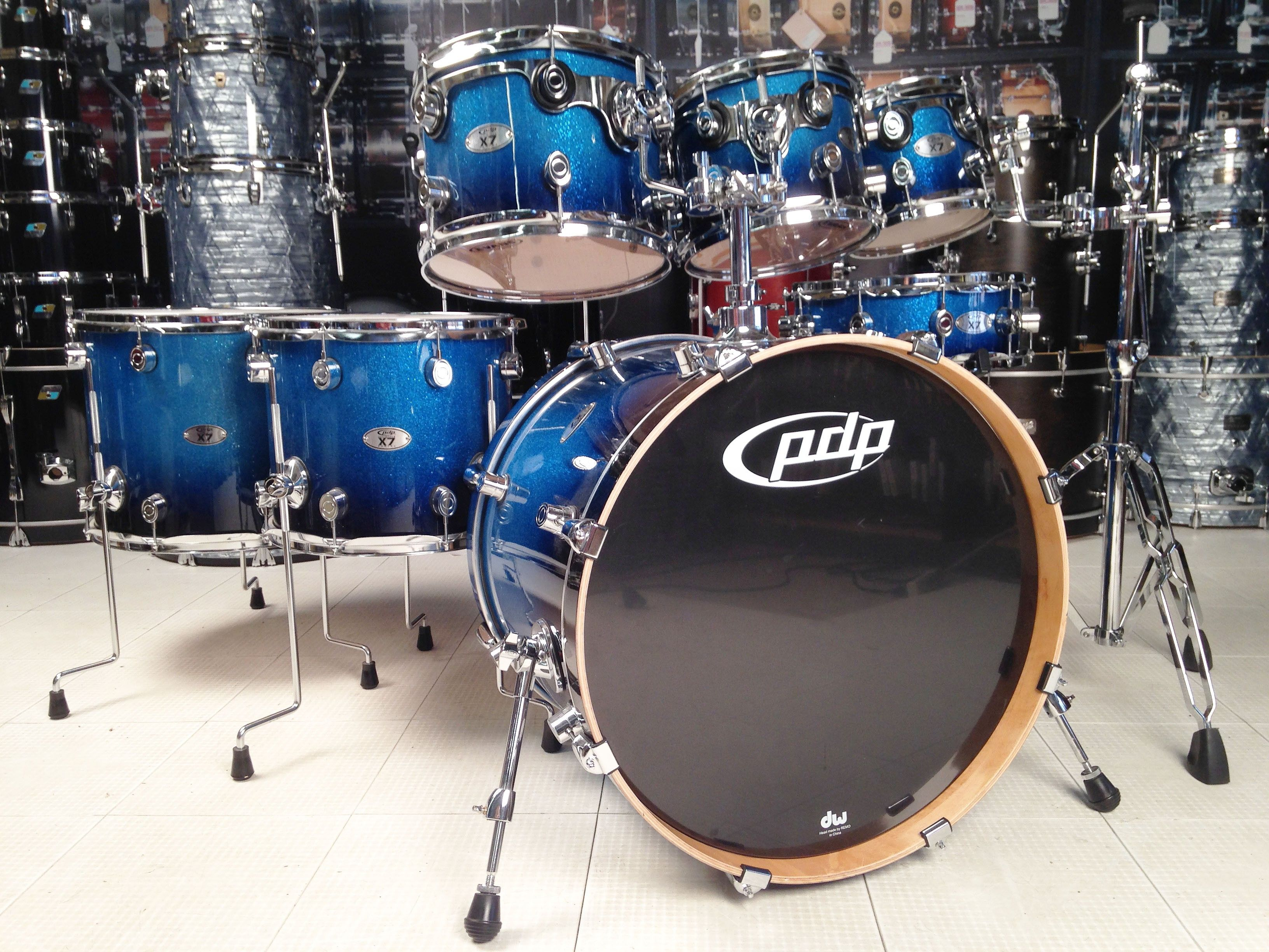 used pdp x7 7pc drum set blue sparkle fade lacquer used drum sets used drum center of. Black Bedroom Furniture Sets. Home Design Ideas